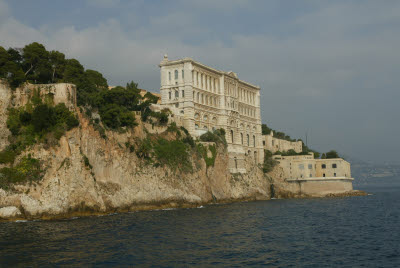Seaside view of Monoco Acquarium Perched on a Cliffside