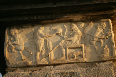 Frieze on Lycian tomb in Xanthos, Turkey